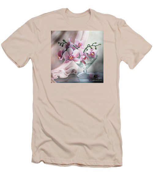 Men's T-Shirt (Slim Fit) featuring the painting Orchids by Vesna Martinjak