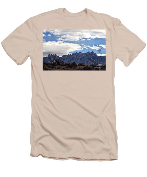 Organ Mountain Landscape Men's T-Shirt (Slim Fit) by Barbara Chichester