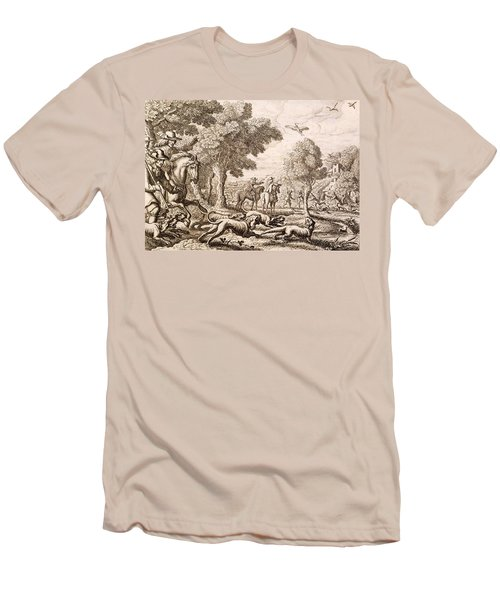 Otter Hunting By A River, Engraved Men's T-Shirt (Slim Fit) by Francis Barlow