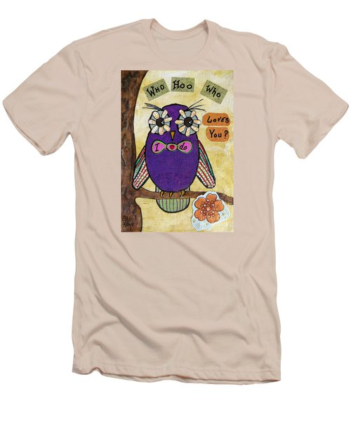 Owl Love Story - Whimsical Collage Men's T-Shirt (Slim Fit) by Ella Kaye Dickey