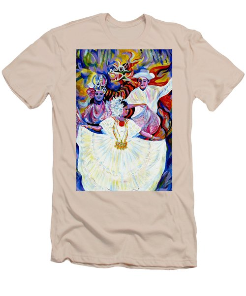 Men's T-Shirt (Slim Fit) featuring the painting Panama Carnival. Fiesta by Anna  Duyunova