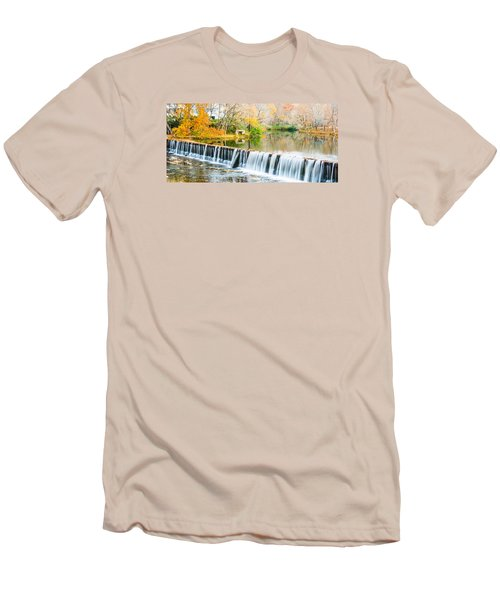 Panorama Of Buck Creek In Autumn Men's T-Shirt (Slim Fit) by Parker Cunningham