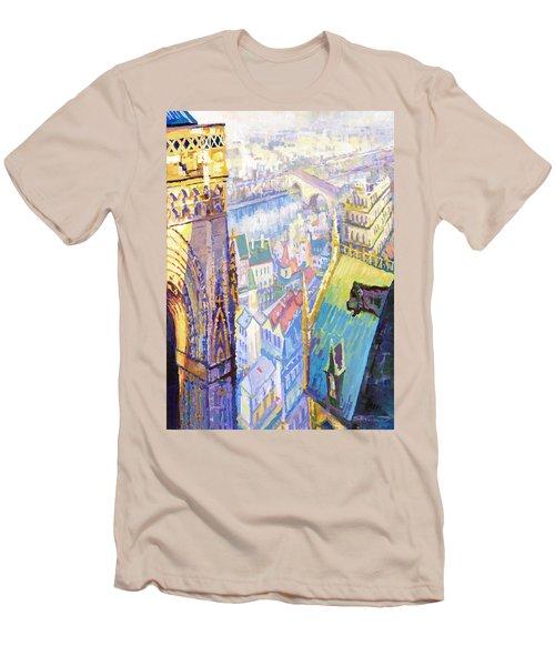 Paris Shadow Notre Dame De Paris Men's T-Shirt (Athletic Fit)