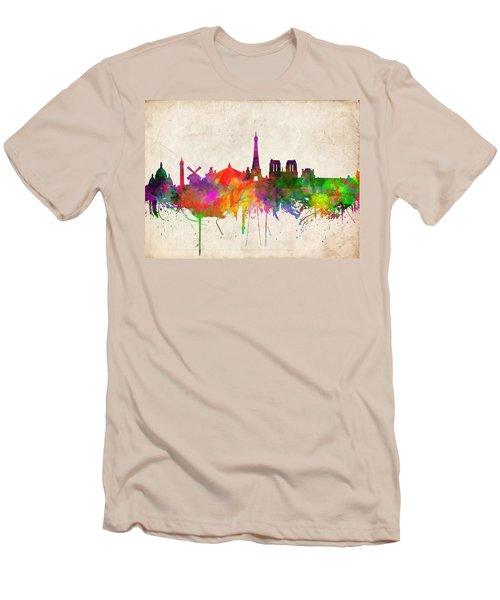 Paris Skyline Watercolor  Men's T-Shirt (Slim Fit)