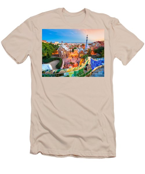 Park Guell In Barcelona - Spain Men's T-Shirt (Slim Fit) by Luciano Mortula