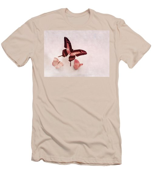 Pastel Pink Butterflies Men's T-Shirt (Athletic Fit)