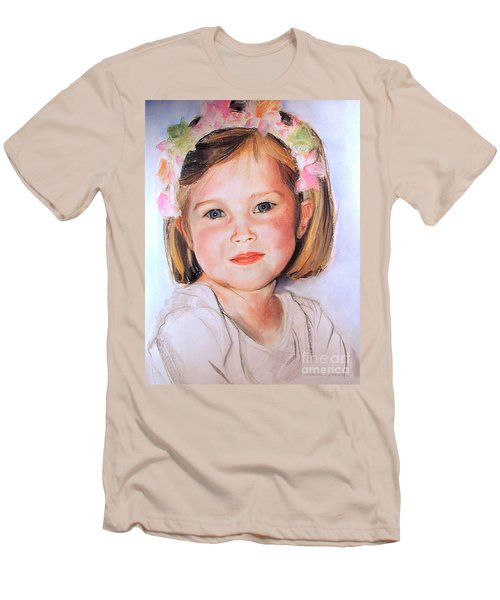 Pastel Portrait Of Girl With Flowers In Her Hair Men's T-Shirt (Athletic Fit)