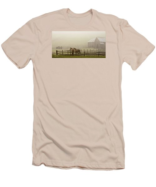 Men's T-Shirt (Slim Fit) featuring the photograph Patiently Waiting by Joan Davis