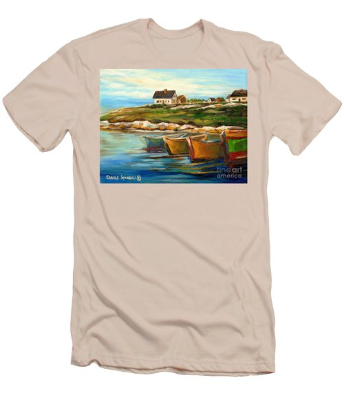 Peggys Cove With Fishing Boats Men's T-Shirt (Slim Fit) by Carole Spandau