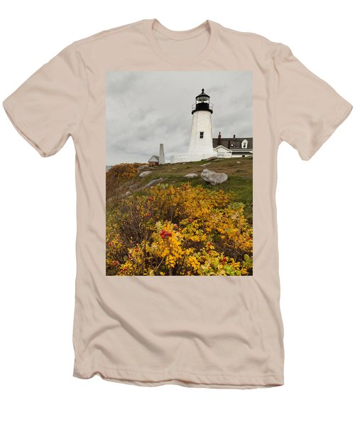 Pemaquid Point Lighthouse And Sea Roses Men's T-Shirt (Slim Fit)