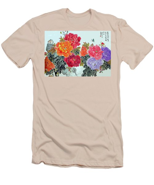 Men's T-Shirt (Slim Fit) featuring the photograph Peonies And Birds by Yufeng Wang
