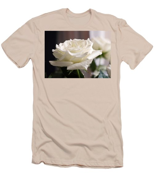 Perfect White Rose Men's T-Shirt (Slim Fit) by Connie Fox