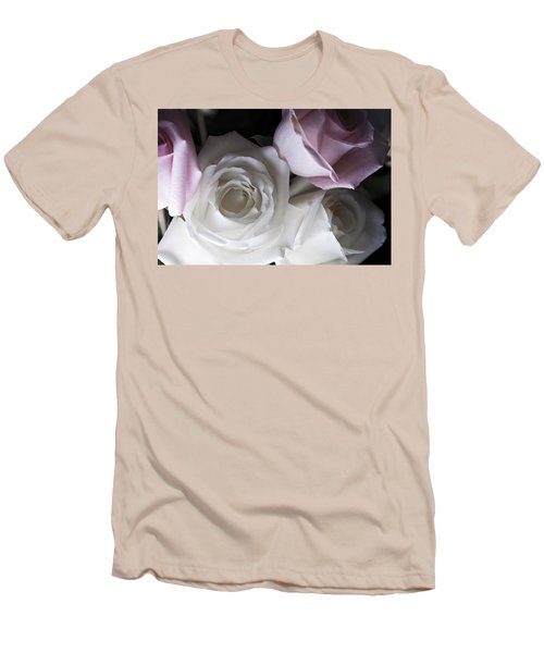Pink And White Roses Men's T-Shirt (Athletic Fit)