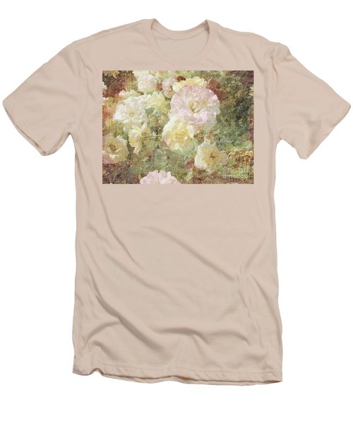 Pink And White Roses With Tapestry Look Men's T-Shirt (Athletic Fit)