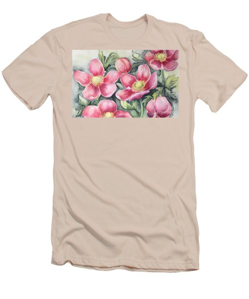 Pink Anemones Men's T-Shirt (Slim Fit) by Inese Poga