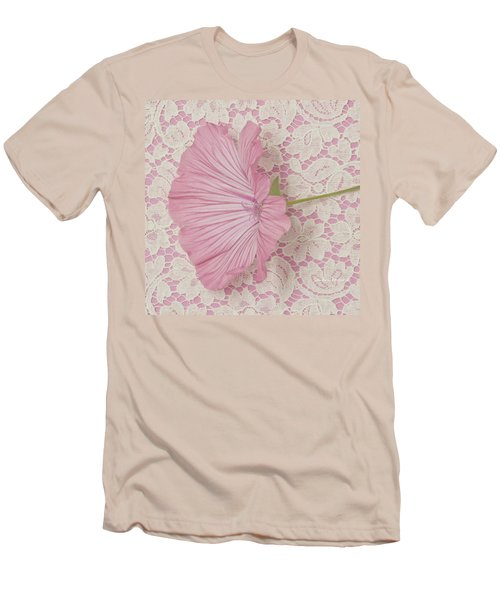 Men's T-Shirt (Slim Fit) featuring the photograph Pink Lavatera Blossom On Vintage Lace - Macro by Sandra Foster