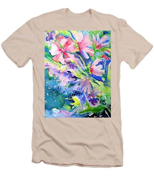 Pink Lavatera Profusion Men's T-Shirt (Slim Fit) by Trudi Doyle