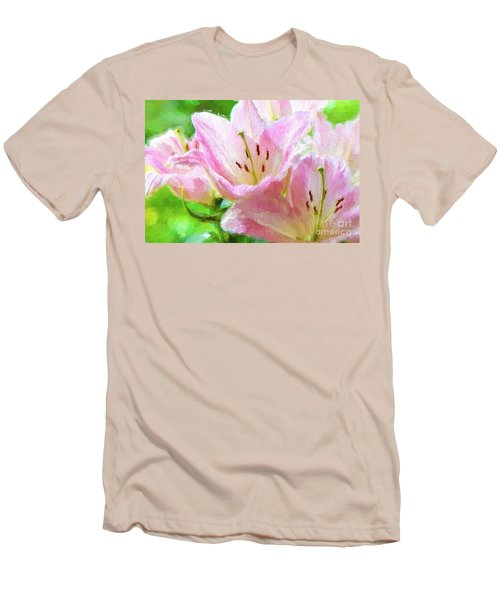 Pink Lilies Digital Painting Impasto Men's T-Shirt (Athletic Fit)