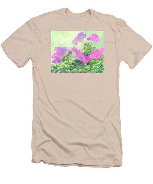 Pink Petunias Beautiful Flowers Art Colorful Original Garden Floral Flower Artist K. Joann Russell  Men's T-Shirt (Slim Fit) by Elizabeth Sawyer