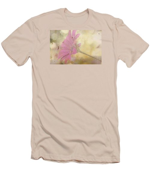 Men's T-Shirt (Slim Fit) featuring the photograph Pink Textured Gazania by Sandra Foster