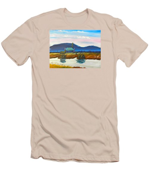 Men's T-Shirt (Slim Fit) featuring the painting Pittown by Pamela  Meredith
