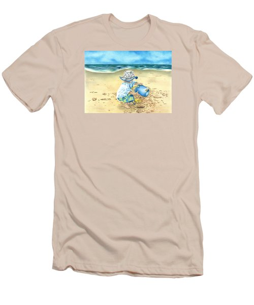 Men's T-Shirt (Slim Fit) featuring the drawing Playing On The Beach by Troy Levesque
