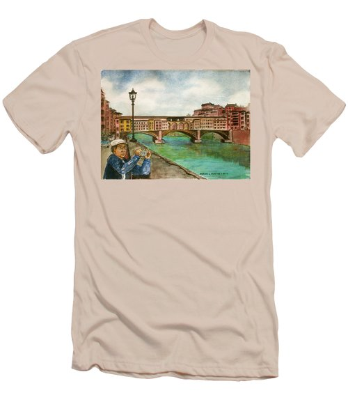 Ponte Vecchio Florence Italy Men's T-Shirt (Slim Fit) by Frank Hunter