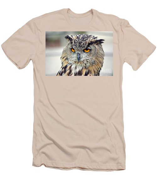 Men's T-Shirt (Slim Fit) featuring the photograph Portrait Of A Great Horned Owl II by Jim Fitzpatrick