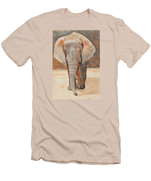 Men's T-Shirt (Slim Fit) featuring the painting Portrait Of An Elephant by Jeanne Fischer