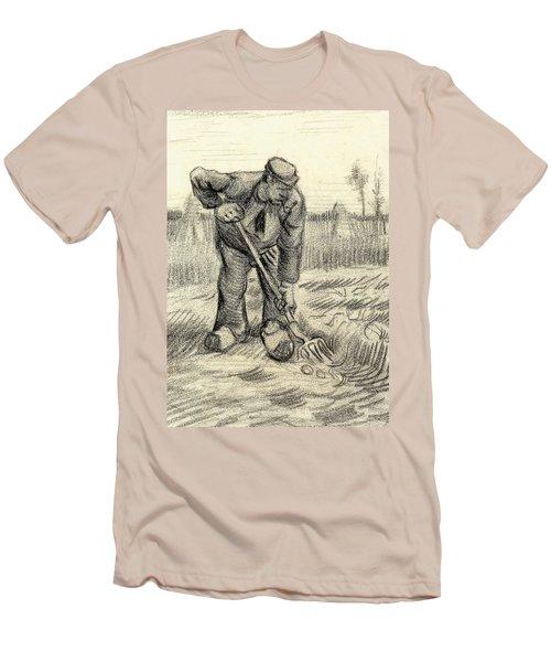 Potato Gatherer Men's T-Shirt (Slim Fit) by Vincent Van Gogh