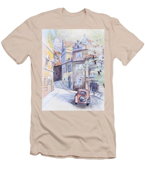 Men's T-Shirt (Slim Fit) featuring the painting Prague Golden Well Lane by Marina Gnetetsky
