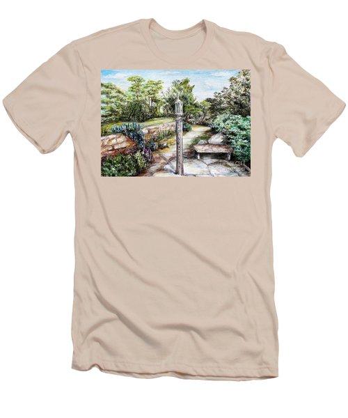 Prayer Wheel At Pacifica's Lambert Campus- Postcard Men's T-Shirt (Slim Fit) by Danuta Bennett