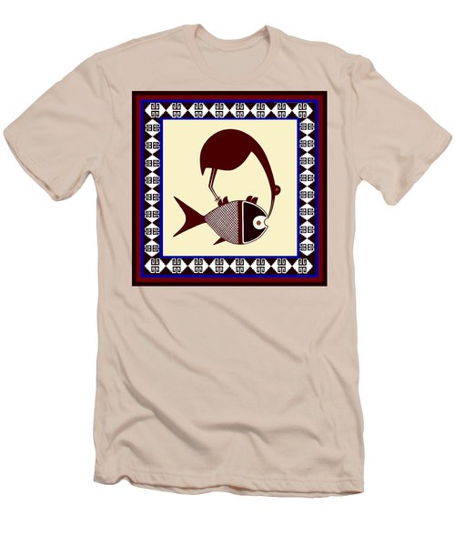 Men's T-Shirt (Slim Fit) featuring the digital art Pre-columbian Stork Fish by Vagabond Folk Art - Virginia Vivier