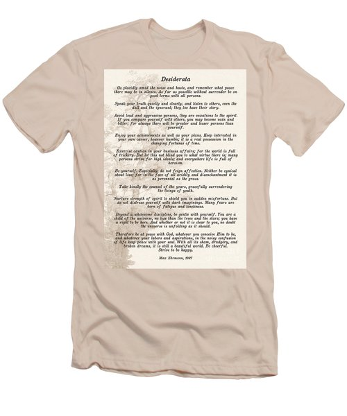 Prose Poem Desiderata By Max Ehrmann  Men's T-Shirt (Slim Fit) by Olga Hamilton