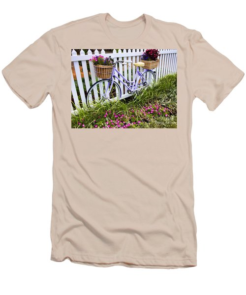 Purple Bicycle And Flowers Men's T-Shirt (Athletic Fit)