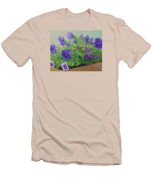 Purple Pansies Colorful Original Oil Painting Flower Garden Art  Men's T-Shirt (Slim Fit) by Elizabeth Sawyer