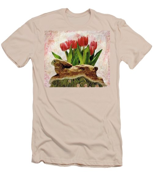 Rabbit And Pink Tulips Men's T-Shirt (Athletic Fit)