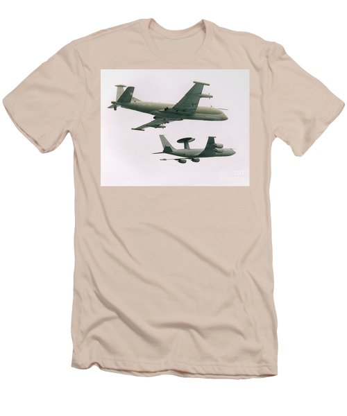 Men's T-Shirt (Slim Fit) featuring the photograph Raf Nimrod And Awac Aircraft by Paul Fearn