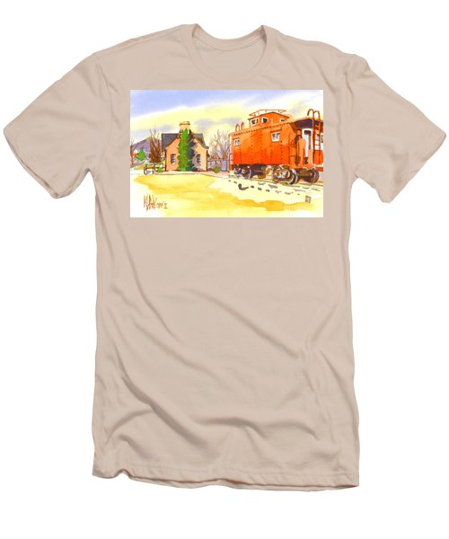 Red Caboose At Whistle Junction Ironton Missouri Men's T-Shirt (Slim Fit) by Kip DeVore