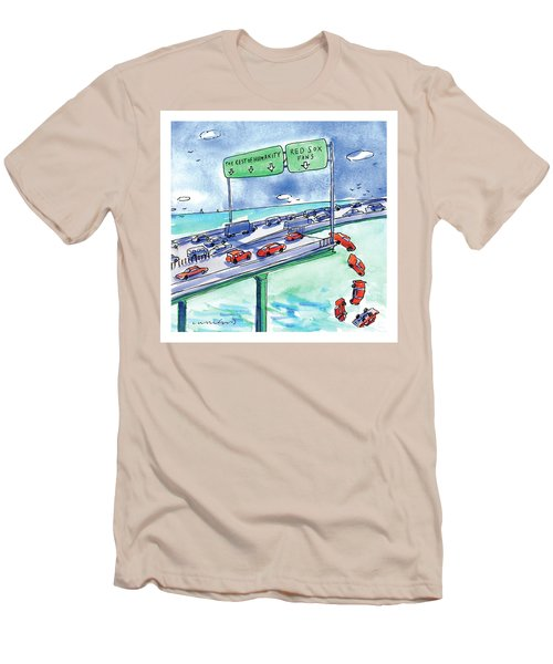 Red Cars Drop Off A Bridge Under A Sign That Says Men's T-Shirt (Slim Fit) by Michael Crawford