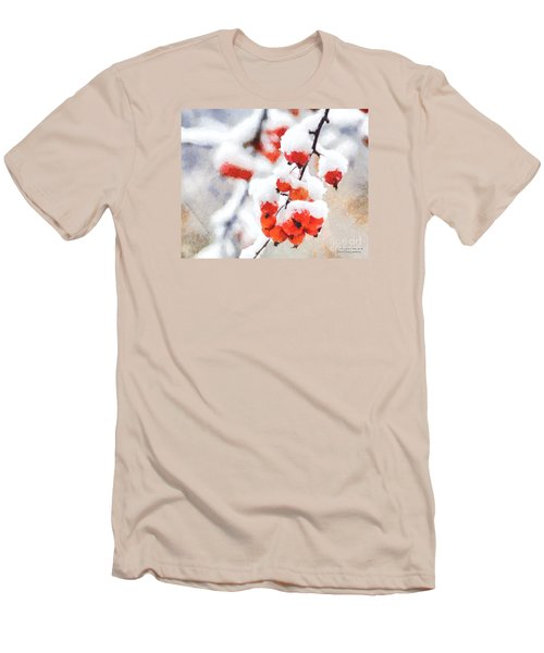 Red Crabapples In The Winter Snow - A Digital Painting By D Perry Lawrence Men's T-Shirt (Slim Fit) by David Perry Lawrence