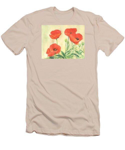 Red Poppies 3 Colorful Watercolor Poppy Floral Original Art Flowers Garden Artist K. Joann Russell Men's T-Shirt (Slim Fit) by Elizabeth Sawyer