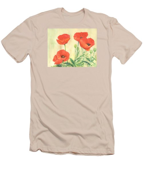 Red Poppies 3 Colorful Watercolor Poppy Floral Original Art Flowers Garden Artist K. Joann Russell Men's T-Shirt (Athletic Fit)