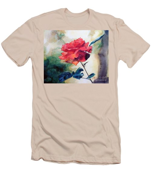 Men's T-Shirt (Slim Fit) featuring the painting Red Rose On A Branch by Greta Corens
