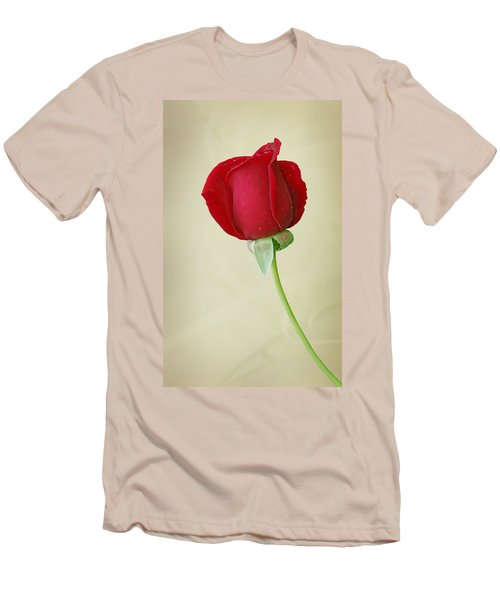Red Rose On White Men's T-Shirt (Slim Fit) by Sandy Keeton
