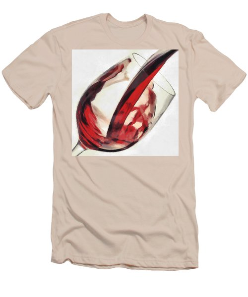 Red Wine  Into Wineglass Splash Men's T-Shirt (Athletic Fit)