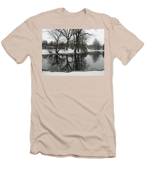 Reflection Pond Spring Grove Cemetery Men's T-Shirt (Slim Fit) by Kathy Barney