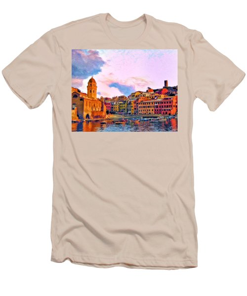 Relaxing Around Vernazza Men's T-Shirt (Slim Fit) by Michael Pickett