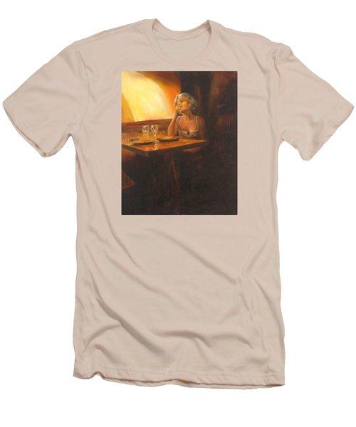 Rendevous At The Indian Restaurant Men's T-Shirt (Slim Fit) by Connie Schaertl