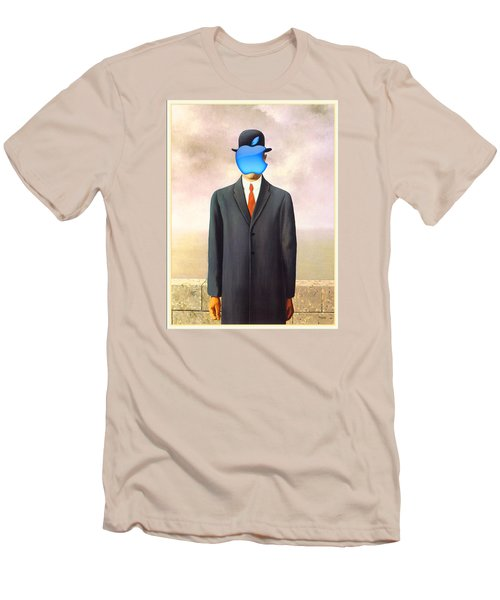 Rene Magritte Son Of Man Apple Computer Logo Men's T-Shirt (Slim Fit) by Tony Rubino
